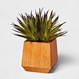Artificial Succulent in Wood Pot