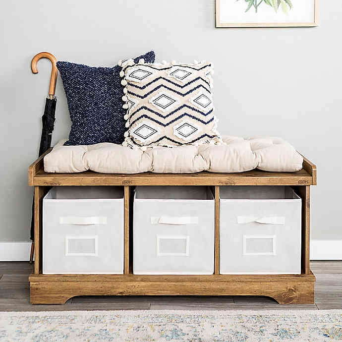 Forest Gate Contemporary Wood Storage Bench With Totes And Cushion Best Bed Bath Beyond Furniture With Storage Popsugar Home Australia Photo 3