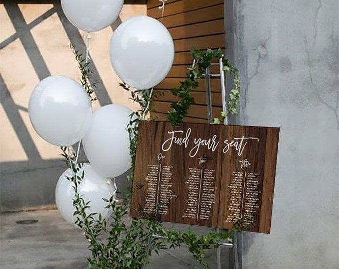 Wedding Table Seating Chart.Editable Wood Wedding Table Seating Chart Unconventional Seating