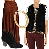 Show off your exotic side with a tinge of fringe and a blast of animal print. We think this cinnamon-colored maxi paired with a wool fringe vest, leopard-print silk tee, low black booties, and chunky gold chain offers up just the right amount of warm Winter tones. DKNY Fringed Wool Vest ($375) A.L.C. Lizzie Animal Print Silk Crepe Top ($295) Aldo Kallin Booties ($90) Lauren by Ralph Lauren Necklace ($98) Lonely Hearts Sandy Maxi Skirt ($339)