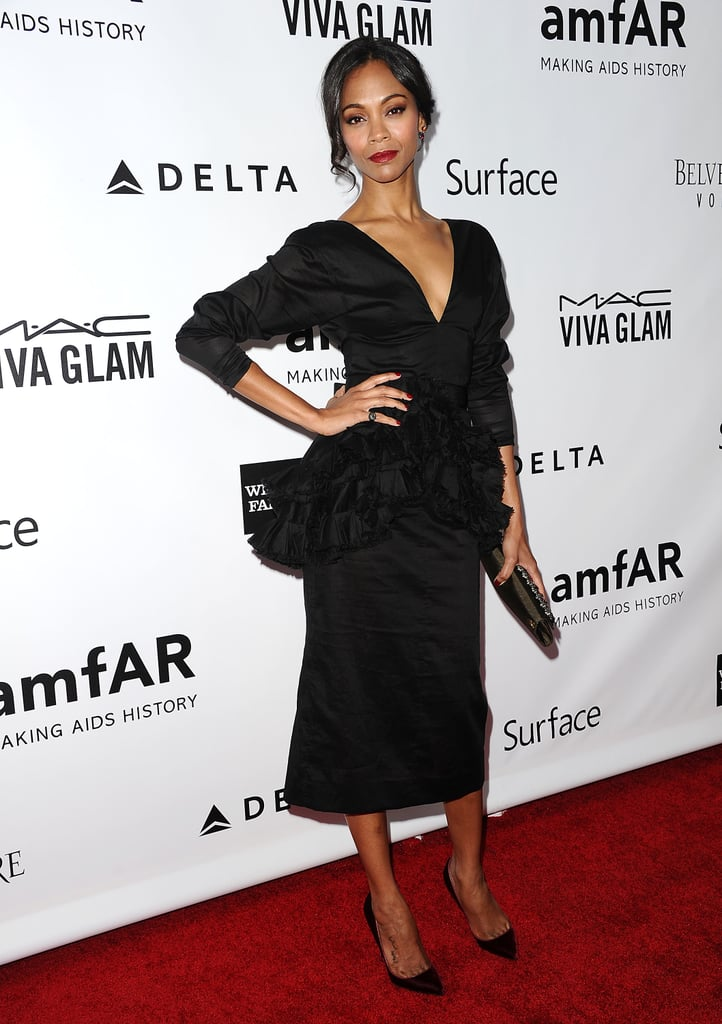 Zoe Saldana worked her stuff on the red carpet.