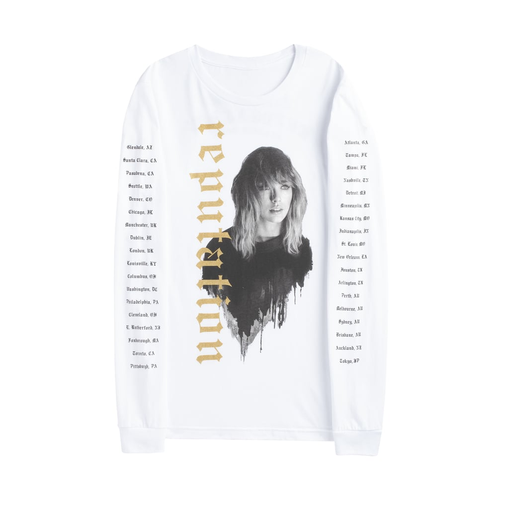 White Long Sleeve Tour Tee With Reputation In Gold