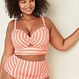 Old Navy Twist-Front Plus-Size Striped Bandeau Swim Top
