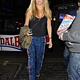 Bar Refaeli wore wild printed pants for her dinner date.