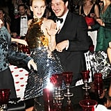 Carey Mulligan struck a pose with new husband Marcus Mumford, with Tobey Maguire getting pictured just behind them. Billy Farrell/BFAnyc.com