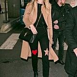 Gigi Hadid Carrying a Saint Laurent Large Monogram Leather Shoulder Bag