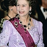 The Kent Parure The oldest pieces of jewelry in the royal collection belonged to Queen Victoria's mother. The huge amethysts surrounded by diamonds have only been worn by the Queen once.