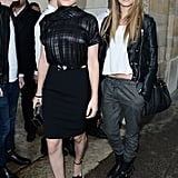 Cara Delevingne was effortlessly cool in her leather jacket at Roberto Cavalli's Milan Fashion Week show.