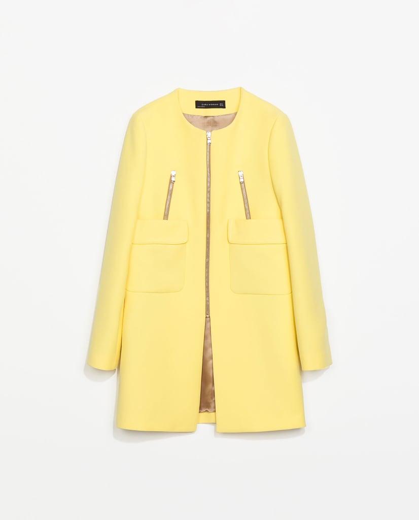 Zara yellow coat with pockets ($159)