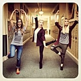 Julianne Hough and Aaron Paul's wife, Lauren Parsekian, practiced their dance moves with a friend. Source: Instagram user juleshough