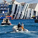 Engineers rode boats over to the Costa Concordia to begin the project.