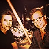 """John: """"doesn't tom petty and band have anything better to do than photobomb me and @bobsaget #bonnaroo"""""""