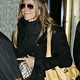 Jen even owned the aviator shape in this style. She showed them off while bundled up in New York in 2004.