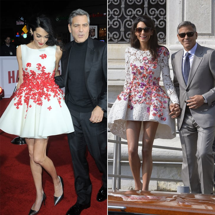 Amal wore a long-sleeved Giambattista Valli dress with similar floral appliqué details for her wedding weekend in September 2014.