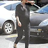 Pregnant Drew Barrymore wore all black to lunch in LA.