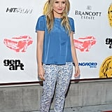 Kristen Bell rocked printed pants and a blue top at the Hit and Run screening.