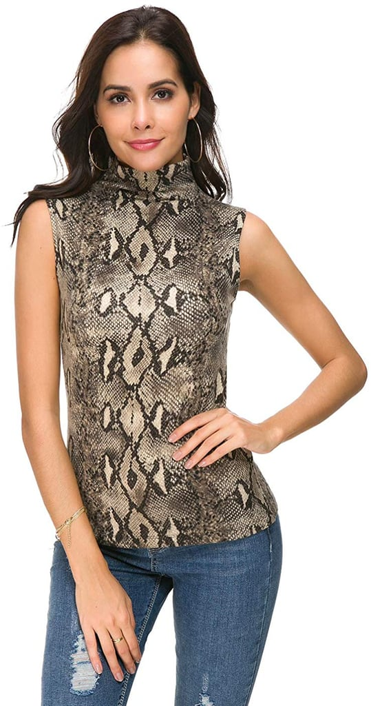 Wosalba Women Sleeveless Mock Turtle Neck Knit Pullover