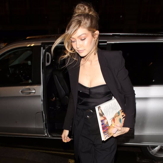 Gigi Hadid's Black Combat Boots With Suit