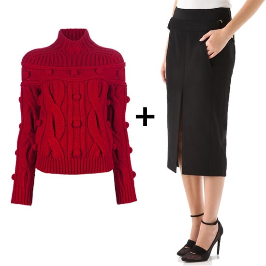 We decided to balance out the sexiness of this black slit-front skirt with a bold red turtleneck cable-knit sweater. Just add ankle-strap black pumps and sheer tights for sophisticated nighttime ensemble. Get the look: Carven red cable-knit turtleneck ($1,032) Alexander Wang black tapered skirt ($368, originally $525)