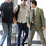 Robert Pattinson wore a beanie and sunglasses at Sydney airport.