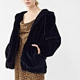 UO Faux Fur Hooded Bomber Jacket