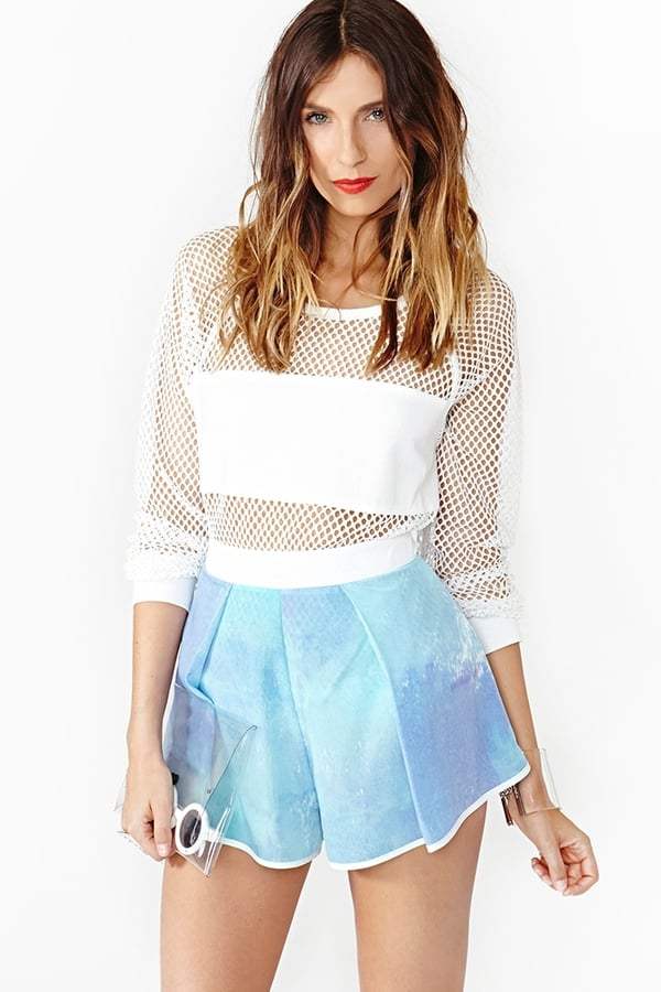 Channel a chic surfer girl in these Nasty Gal sky-blue shorts ($38).