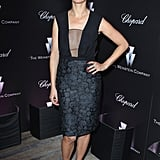 The Artist actress Bérénice Bejo sported a very cool cocktail dress with a sheer insert and printed metallic skirt.