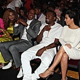Kim rubbed elbows with Jay Z and Beyoncé Knowles when she joined Kanye at the BET Awards in LA in July 2012.