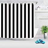 LB Black and White Shower Curtain,Striped Bathroom Curtain