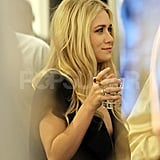 Ashley Olsen had a drink at a Paris Fashion Week party.