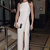 Celebrating Ant and Dec's birthday in October 2015, Cheryl wore a white dress by Elizabeth and James (£480) with an asymmetrical lace-up detail.