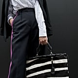 Zebra stripes made this tote a total statement maker.