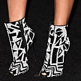 Nicki Minaj's black-and-white, geometric peep-toe booties were like a work of art.