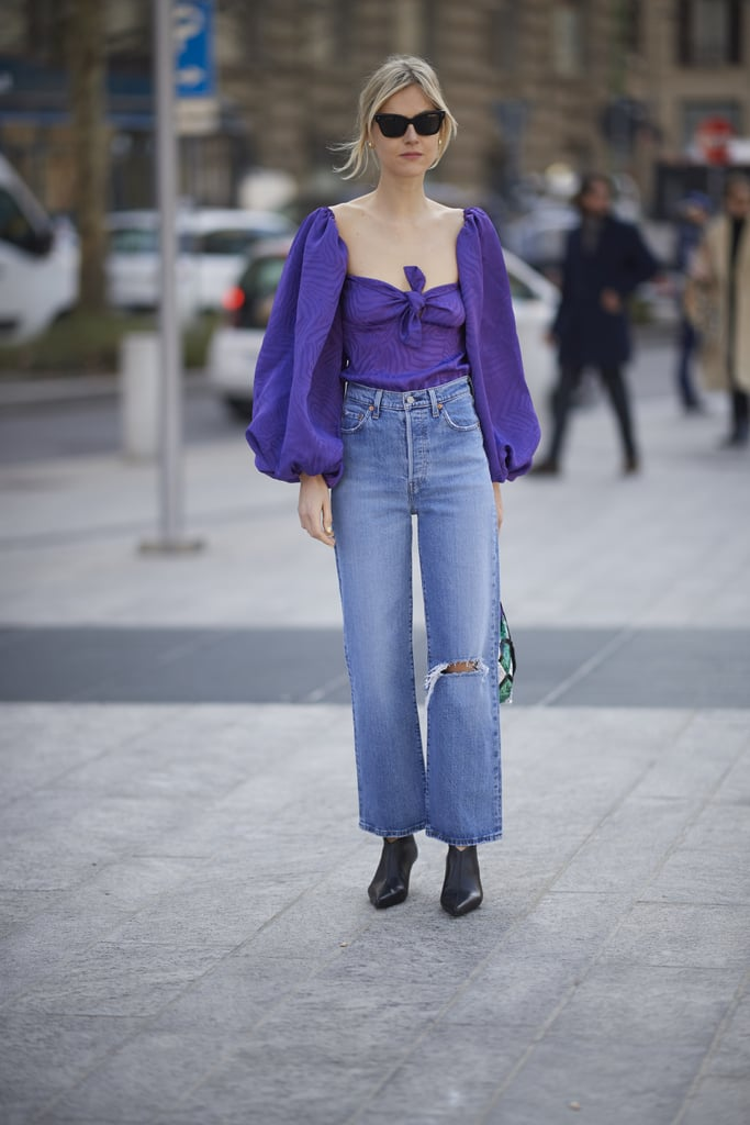 Give straight-leg jeans the romantic touch in a sweetheart blouse