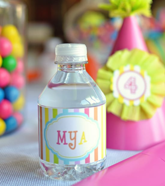 Rainbow Personalized Water Labels Rainbow Birthday Party Ideas For