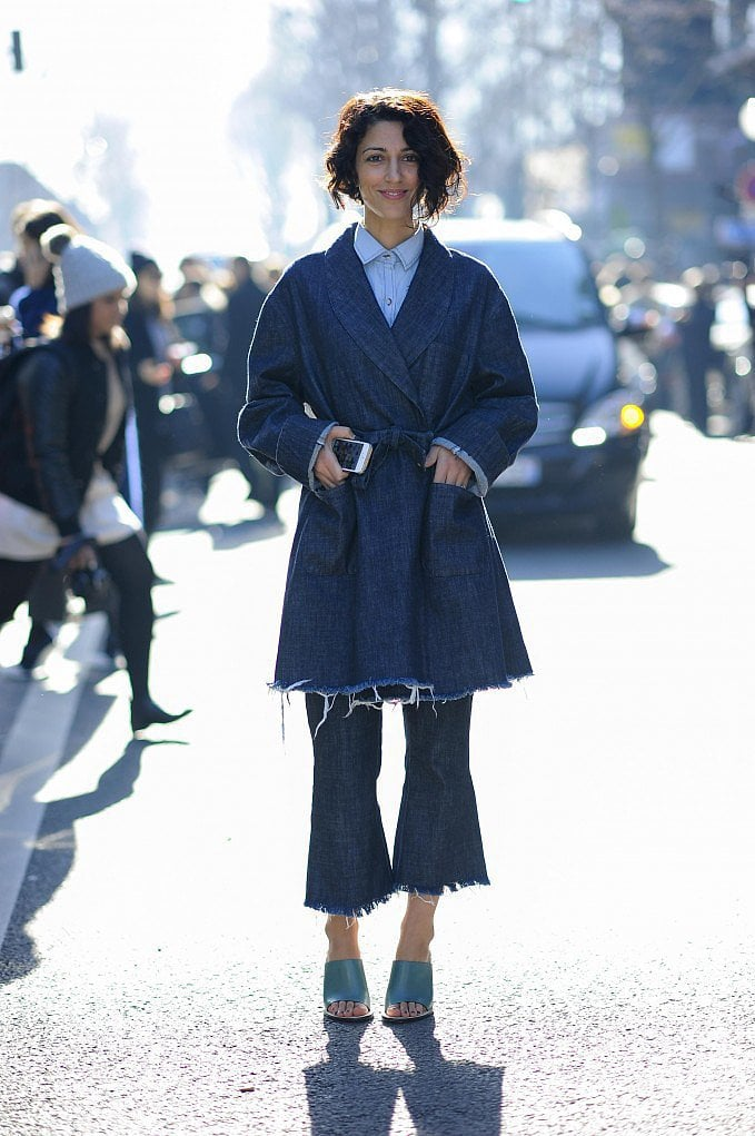 Yasmin Sewell took the trend for a walk with a casual-cool denim look. The ankle crop means those mules are on full display.  Source: Gorunway.com/Matteo Catena