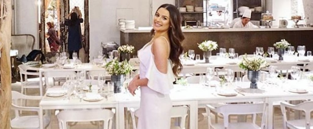 Lea Michele White Dress at Her Bridal Shower 2018