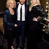 Carole King, John Legend, and Meghan Trainor got together backstage at Clive Davis's gala.