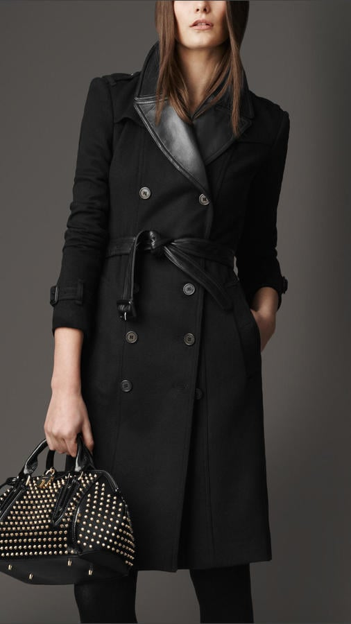 Burberry is a favorite of famous Brit It girls like Burberry Long Leather Detail Wool Cashmere Trench Coat ($2,295) is a lux twist on the fashion house's classic trench.  — Annie Gabillet, news editor