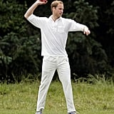 He donned all white when he played cricket for the King's Head Inn pub team in July 2010.