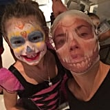 Adriana Lima and Her Daughter as Skeletons
