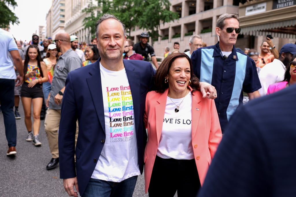 """Vice President Kamala Harris is making history once again! On Saturday, Kamala attended a Pride celebration in Washington DC with husband Doug Emhoff, making her the first sitting vice president to march at a Pride event. As America's second couple joined marchers during the Capital Pride Parade, Kamala sported a """"Love Is Love"""" T-shirt complete with a bright pink blazer, while Doug wore a T-shirt with the words """"Love first"""" written across it. """"Happy Pride,"""" Kamala reportedly shouted out to the crowd.  """"We need to make sure that our transgender community and our youth are all protected."""" While there, Kamala delivered a brief speech, advocating for the passing of the Equality Act, which protects LGBTQ+ people from discrimination in the workplace, schools, and other key areas of life. """"We need to make sure that our transgender community and our youth are all protected. We need, still, protections around employment and housing,"""" Kamala said, according to NBC Washington. """"There is so much more work to do, and I know we are committed."""" Kamala previously kicked off Pride Month with a poignant post about its significance on Instagram. """"Every June, we celebrate the contributions the LGBTQ+ community have made to our nation's past, present, and future — but we must recommit ourselves to doing everything in our power to protect the community from discrimination and harm and deliver full and equal rights to LGBTQ+ Americans,"""" she wrote on June 4.  If you're looking for LGBTQ+ organizations to donate to, check out these incredible charities and groups.      Related:                                                                                                           Celebrate Pride Month on Loop With These 47 Bangin' Songs"""