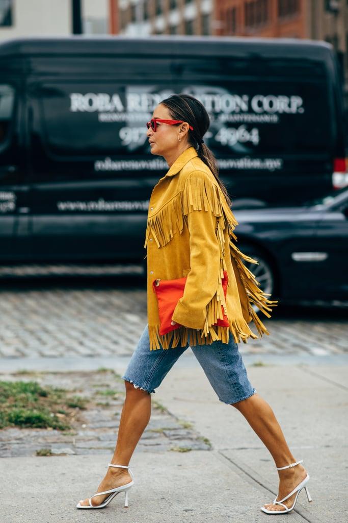 Fringe Jacket Outfit Idea: Bermuda Shorts + Sandals
