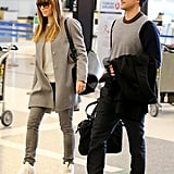 Justin Timberlake and Jessica Biel both wore sneakers at LAX.