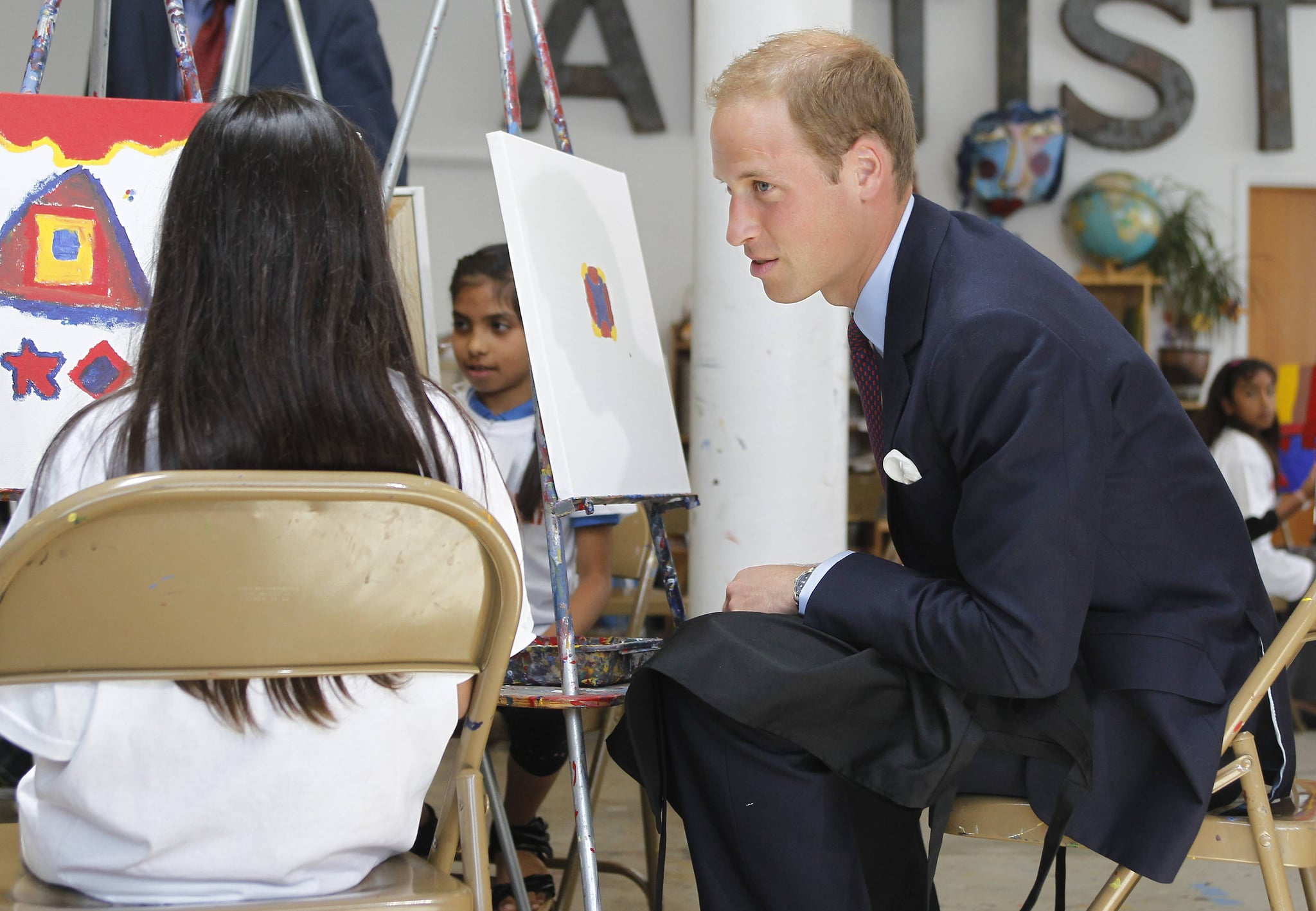 Prince William with kids at Inner City Arts in LA.