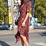 A '90s-inspired floral dress with ankle boots