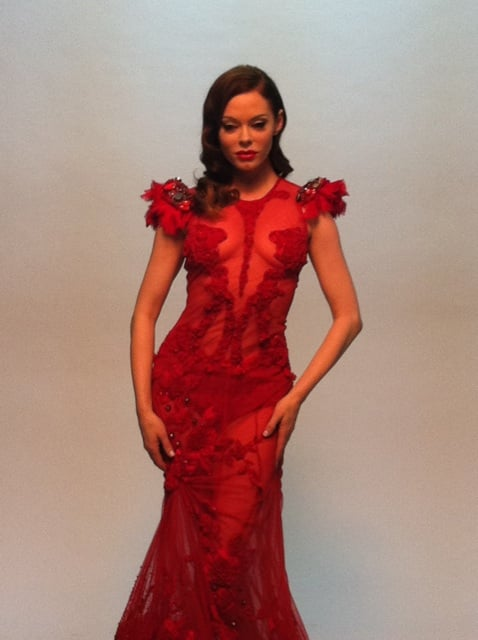 Rose McGowan got snapped on set in a figure-hugging red gown ...