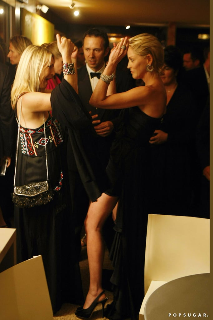 Sharon Stone gave a friend a high five during the Cannes Film Festival  in May 2009.