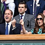 Prince William and Kate Middleton got animated while cheering at Wimbledon in July.