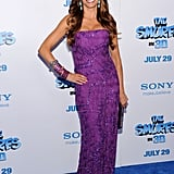 For The Smurfs' NYC premiere, Vergara brought major color to the blue carpet in a decadent purple strapless Missoni number, complete with coordinating arm candy and turquoise drop earrings.